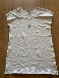 Medium Womens Adidas Gym Running T-Shirt Top in White Size UK 12-14 / 99p start