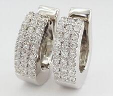 0.75 ct Italy 18k White Gold Round Cut Diamond Half Hoops Earrings 13.8 g