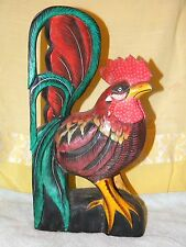 WOOD CARVED ROOSTER STATUE FIGURE PAINTED WOODEN FOLK ART CHICKEN 13 3/4 INCHES