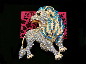 Women's Blue Crystal Rhinestone Ferocity Lion Charm Betsey Johnson Brooch Pin