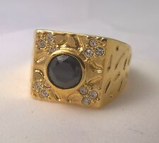 G-Filled Men's 18ct yellow gold ring simulated diamond dark blue sapphire Gents