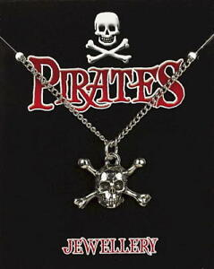 Skull & Crossbones Pewter Pendant On A Chain -  Pirates / Captain Jack Sparrow