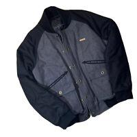 Sean John Men's Black Gray Wool Blend Varsity Bomber Jacket Medium