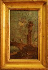 Veduta, MARINA con personaggi- Dipinto Originale a Olio su Tela - 1800 - 16x27
