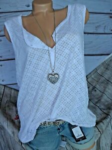 Vivance Ladies Blouse Tunic Button Row White Patterned Elastic Band (540) New