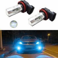 2pcs Ice Blue H8 H11 Daytime DRL/Fog Lights Dual Reflector LED Light Bulbs