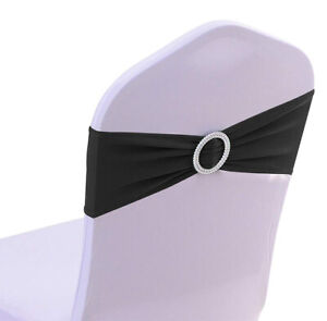 100 Spandex Chair Sashes Elastic Bows Band Wedding Party Decoration - FREE S&H