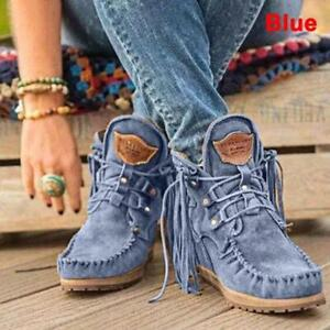 Women Moccasin Boots Flat Suede Fringed Ankle Booties Winter Warm Shoes Short