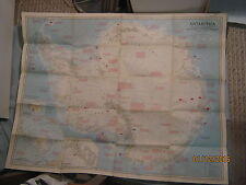 VINTAGE LARGE ANTARCTICA MAP National Geographic September 1957