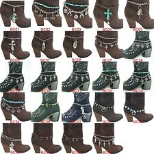 24 Varieties Women's Metal Western Boot Chain Anklet Bracelet with Charms BCH1