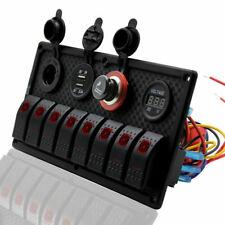 Interruptor de Doble USB 8 Gang 12-24V panel con Voltímetro para Coche Barco Camión Marina RV