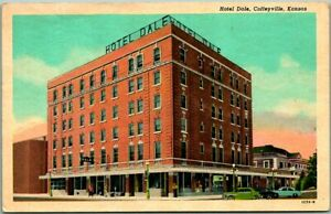 Coffeyville, Kansas Postcard HOTEL DALE Street View Curteich Chrome / 1957
