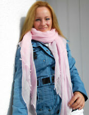 LUXE OH `DOR 100% Cashmere Schal Tuch Luxus Daisy rosa hauchzart 200 x 100 cm