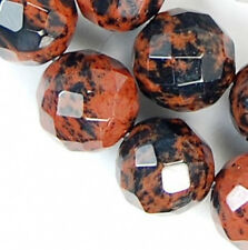 8mm Faceted Brown Flame Jasper Round Beads 15.5""