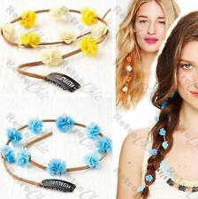 LONG FLOWERS hair clip comb FLOWER SUEDE TIE extension BOHO plait BRAID daisy
