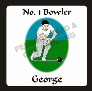 PERSONALISED No. 1 BOWLER / MALE LAWN BOWLS COASTER GIFT - BIRTHDAY FATHER'S DAY