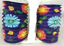 2 Lampion Vintage Paper Lanterns Garden Party Luau Hawaiian Floral Holds Candle