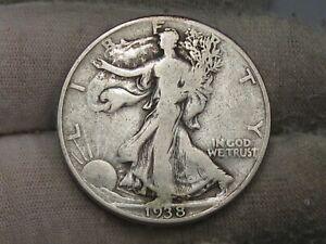 Key Date VG 1938-d Walking LIBERTY Half Dollar. #72