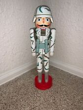 Army Wooden Soldier Nutcracker Moving Mouth Stands 14 In Tall Christmas