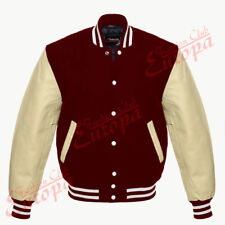 New Varsity  Letterman Wool Jacket with  Real Leather Sleeves