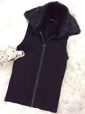 Elie Tahari Women's Wool Vest Leather Trim Detachable Rabbit Fur Collar Size XS