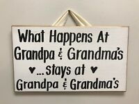 What Happens Grandpa & Grandma's Stays sign grandparents gift custom Nana Papa