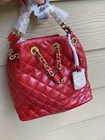 NWT Michael Kors Frankie Leather Medium Drawstring Messenger Bag Dark Red