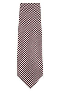 Tom Ford 100% Silk Neck-Tie Red & Off White Houndstooth