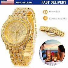 Rapper Hip Hop Fashion Watch Crystal Gold Shiny Women Men Wristwatch Us Seller