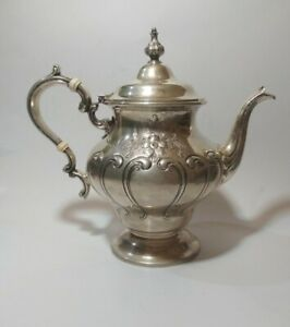 Gorham Chantilly Teapot Sterling Silver Hand Chased No Mono 1002/2