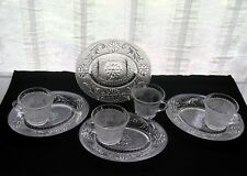 Tiara Indiana Glass 4 Clear Sandwich Snack Plate & Cup Sets
