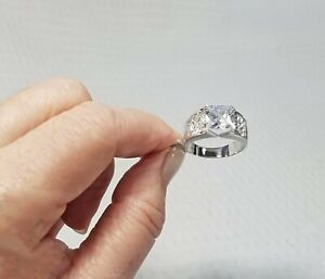 12KSilverplated Mens or Ladies Square-Cut and Pavé Cubic Zirconia Ring Size 10