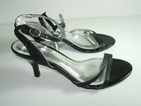 WOMENS BLACK GLITTER ANKLE STRAP SANDALS EVENING HIGH HEELS SHOES SIZE 7.5 M