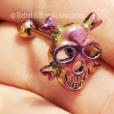 Rainbow Skull Tongue Ring Body Jewelry Piercing Punk
