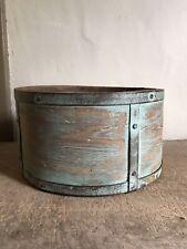Antique Handmade Wooden Grain Measure Bucket Old Green Paint Initials AAFA