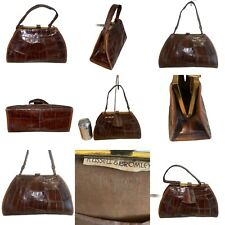 🌟Vintage Russell & Bromley Brown Leather Moc Croc Gladstone Handbag Bag Womens