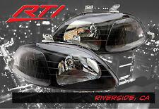96-98 Honda Civic EK JDM Black Headlights w/Clear Refector SI EX SiR LX DX HX HB