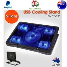 """Laptop Cooling 5 Fans Stand Pad 2 USB Ports Fits 10"""" 17"""" Laptop Notebook Cooler"""