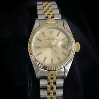 Rolex Date Ladies 2Tone 18K Gold & Stainless Steel Watch Champagne Dial 69173