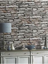 Brick Wallpaper Natural Wall Stone Slate Bronze Rustic Grey Feature Arthouse