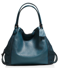 COACH Edie Shoulder Bag 42 in Mixed Leathers with Star Rivets Teal/Gunmetal