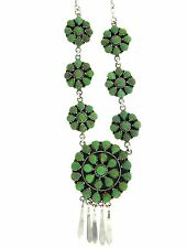 "Navajo Sterling Silver Green Gaspeite Cluster 17"" Necklace"