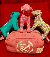 Lot of 3 Victoria's Secret PINK Trademark Plush Dogs with zippered pouch