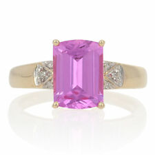Yellow Gold Synthetic Pink Sapphire & Diamond Ring - 14k Rectangle Cut 2.52ctw