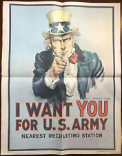 Large 1975 Us Army I Want You For Us Army 22x28� Veitnam Era Poster Recruiting