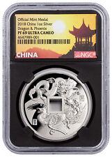 2018 China Dragon & Phoenix 1 oz Silver Proof Medal Ngc Pf69 Uc Black Sku52117