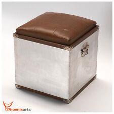 Retro Sitzwürfel Industrie Design Hocker Vintage Ottoman Alu Loft Truhe  503