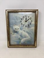 Beautiful Vintage Cat White Persian Kitty Elgin Wall Clock by Ruane Manning