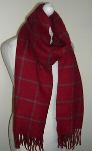 Red Grey Check Wool Blend Long Long Scarf Soft Feel Warm Unisex Tassels Gift New