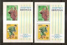 Bhutan - 1964 Olympic Games Miniature Sheets - Perf & Imperf - Un-mounted Mint